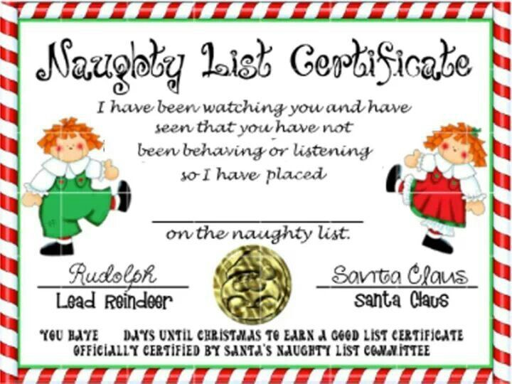 santa NAUGHTY LIST CERTIFICATES | Naughty list certificate | Places to ...