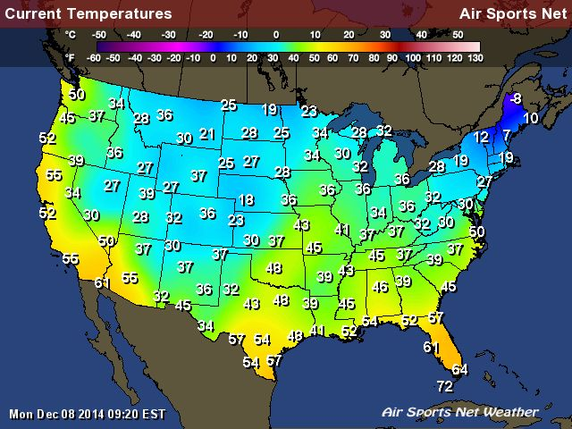 Temperature Map for the United States