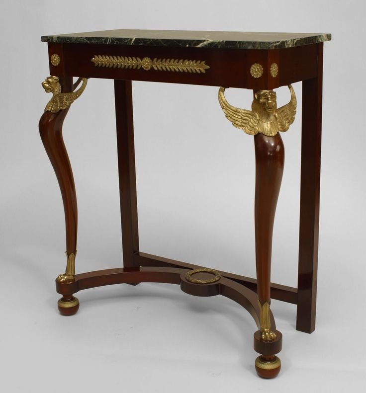 French Empire style Cent) mahogany console table with a stretcher and gilt  bronze trim with a green rectangular marble top - 186 Best French Empire Antiques Collection Images On Pinterest