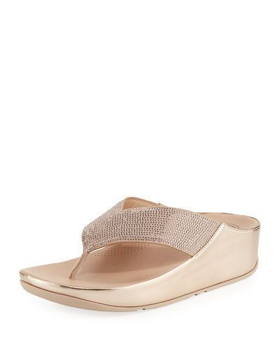 a075064fda788 FitFlop Crystall Rose Gold Sparkle Womens Platform Thong Sandals  fashion   clothing  shoes
