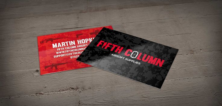 Fifth Column Airsoft Supplies business card design by Pigmental. Check out the camo pattern running through the background colours. Check out there website at www.fifthcolumnairsoft.co.uk