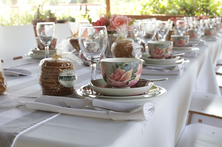 Rosemary Hill High Tea setup on vintage Grey stripe runners