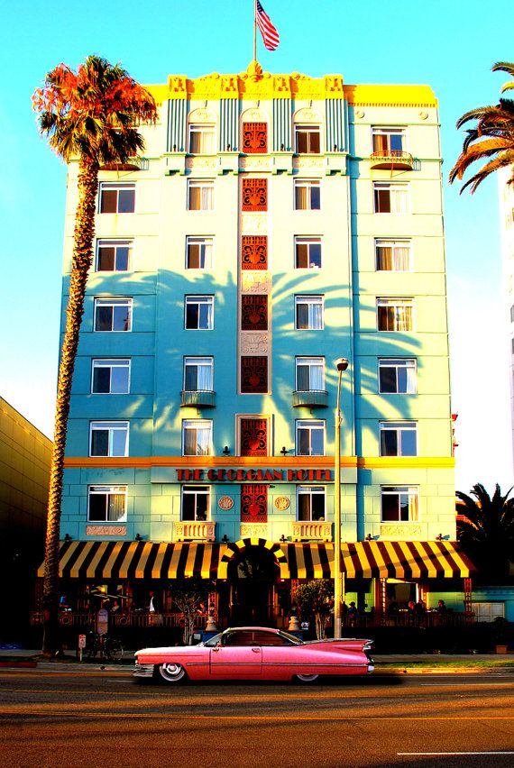 Pink Cadillac at Georgian Hotel, Santa Monica, Ocean Avenue Palm Trees Shadow Art Photograph Print Photography