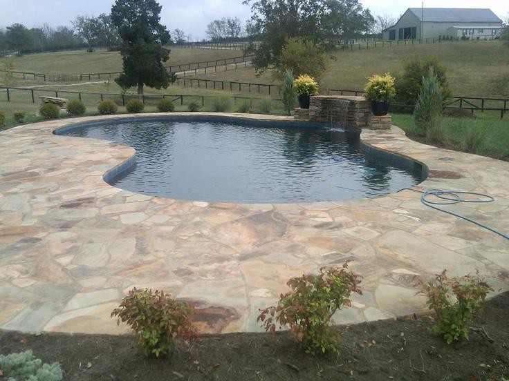 Onyx Pool Plaster : Custom gunite swimming pool with black onyx diamond brite