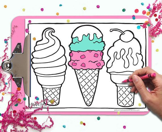 This Printable Ice Cream Coloring Page Is Almost Good Enough To Eat Printable Coloring Cards Handmade Etsy Gifts Etsy Gift Guide