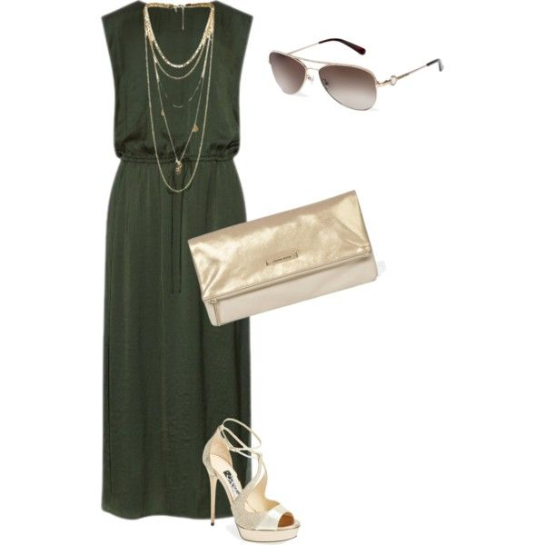 Long dress chic by carolineneron on Polyvore featuring mode, Vince and Jimmy Choo