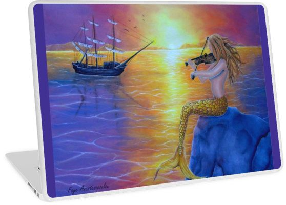 Laptop Skin,  mermaid,fantasy,colorful,purple,unique,cool,beautiful,trendy,artistic,unusual,accessories,ideas,design,items,products,for sale,redbubble