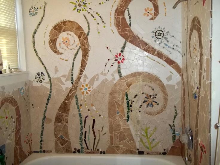 Diederich Trash Craft: Mosaic Tile Tub Surround: Broken Tile