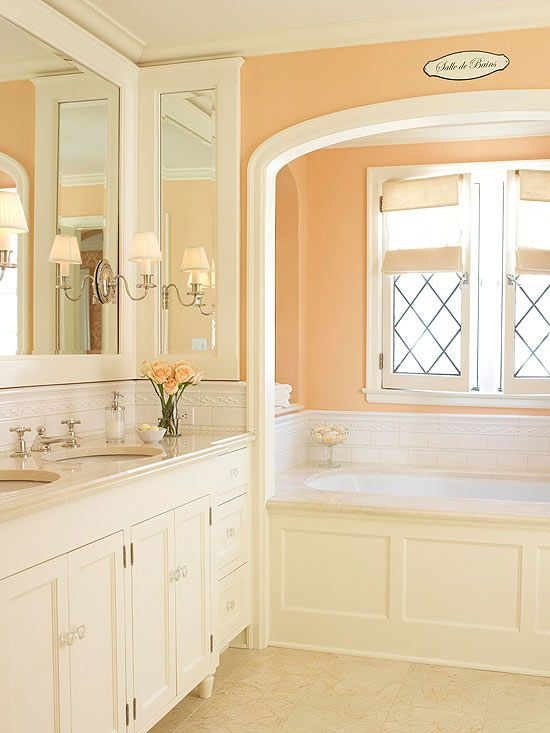53 best images about feeling peachy keen on pinterest for Peach colored bathroom ideas