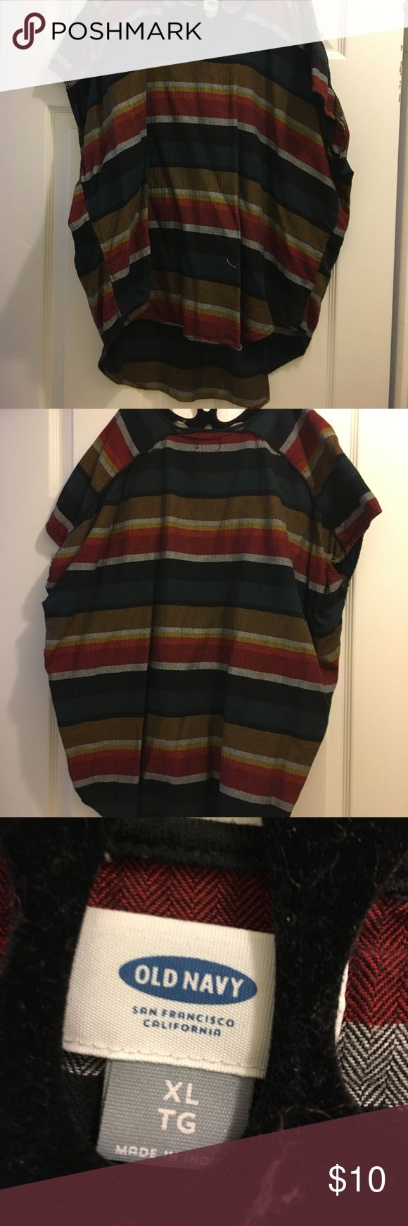 Old Navy Hi/Lo tunic shirt size XL Old Navy hi/Lo tunic shirt, runs large, size XL, very comfortable, kind of Jamaican color scheme, whenever I wore this it got A LOT of compliments Old Navy Tops Blouses