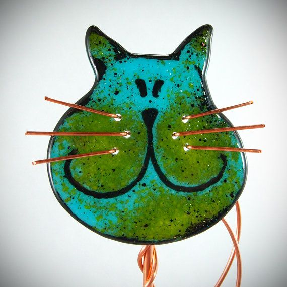 Fused Glass Cat Garden Stake Copper Outdoor Decor Sculpture Kitty Plant Stake  Garden Ornament