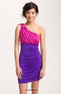 Speechless Ruched Colorblock One-Shoulder Dress