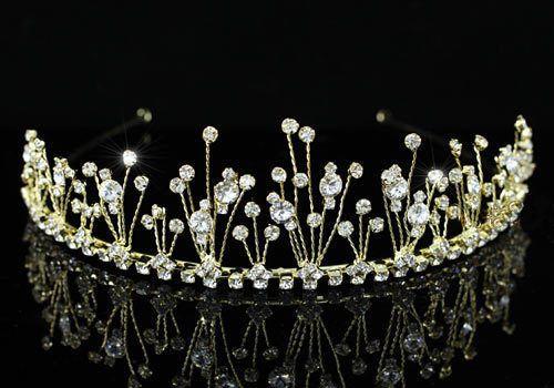 """Νυφικά Αξεσουάρ - Αξεσουάρ Μαλλιών :: Επίχρυση Τιάρα με κρύσταλλα Βασίλισσα """"Άννα-Μαρία"""" - http://www.memoirs.gr/"""