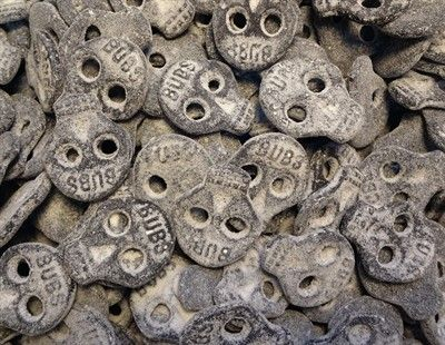 Very Salty licorice shaped as a skulls.