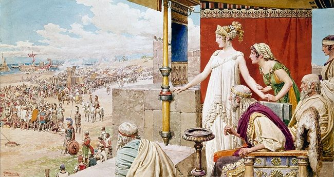 """""""Helen watching Menelaus and Paris fight from the walls of Troy"""", Fortunino Matania"""