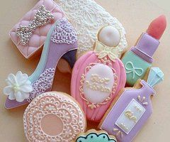too cute to eat! Adorable little cookies,perfume bottles,shoes,lipstick,girly things