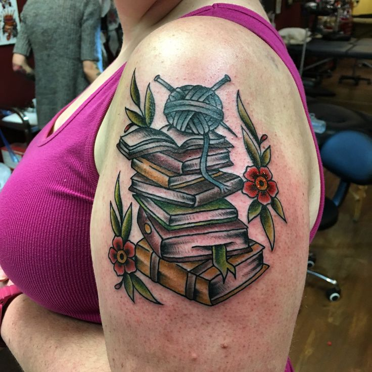 Books & yarn tattoo by Lenny at White Lotus, Fredericton, NB.