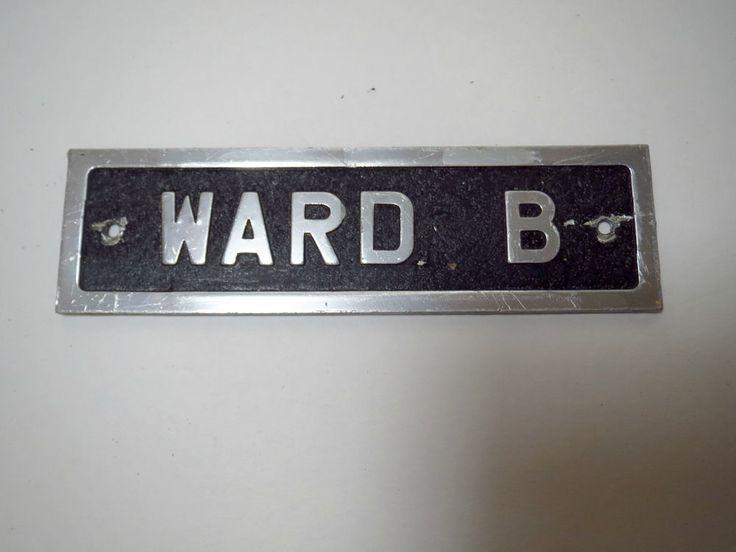 VTG 1970s Aluminum Metal Industrial Door Name Plate Room Sign Hospital WARD B