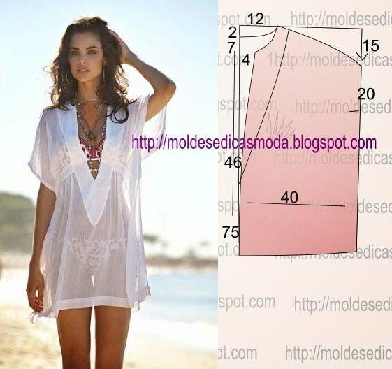 Túnica de modelagem e costura fácil. Esta túnica serve na perfeição para saída de praia, ou para ir a uma festa de verão (praia). Fica bem em tecidos leves e fluidos, tais como organza ou seda. O fact