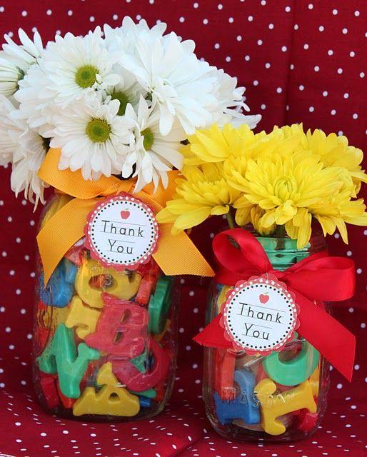 ABC Flowers-- for a cute teacher appreciation gift?! Or first day of school?!: Teacher Gifts, Teacher Appreciation, Gifts Ideas, Preschool Teacher, Cute Ideas, Appreciation Gifts, Magnets Letters, Thanks You Gifts, Mason Jars