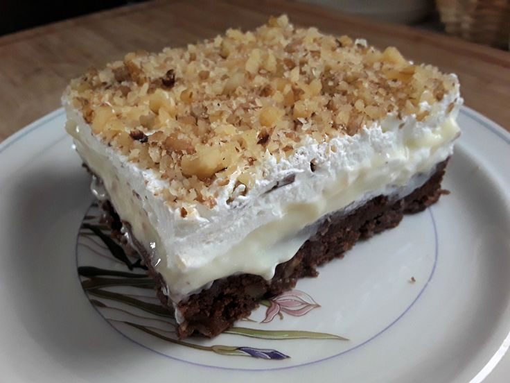 walnut cake with pastry cream and whipped cream