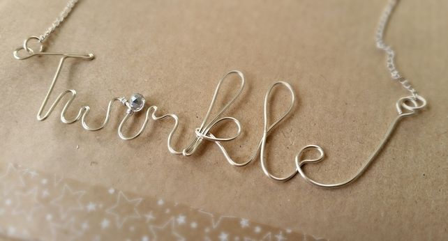Twinkle Hand Written in Wire Necklace. Cute Christmas Gift. £8.00
