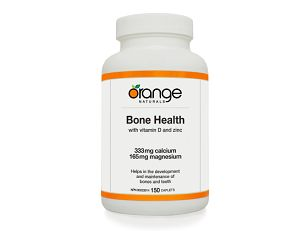 Orange Naturals Bone Health with Cal/Mag: The gradual loss of bone density and strength can lead to diseases such as osteopenia and osteoporosis - particularly for women.  Broken hips and spinal fractures can be the result and the cost to an individual's quality of life and society is huge.  Maintaining the health of one's bone is critical and taking adequate calcium, magnesium vitamin D and vitamin K may help prevent bone loss/osteoporosis in peri- and postmenopausal women later.