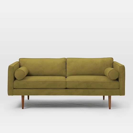 Cool Monroe Mid Century Loveseat Plush Velvet Wasabi At West Ocoug Best Dining Table And Chair Ideas Images Ocougorg