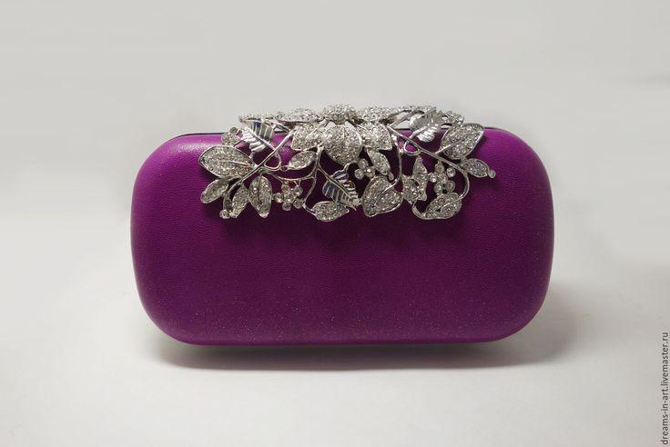 Купить Кожаный клатч-бокс ярко-фиолетовый - фуксия, кожаная женская сумка, сумочка мини