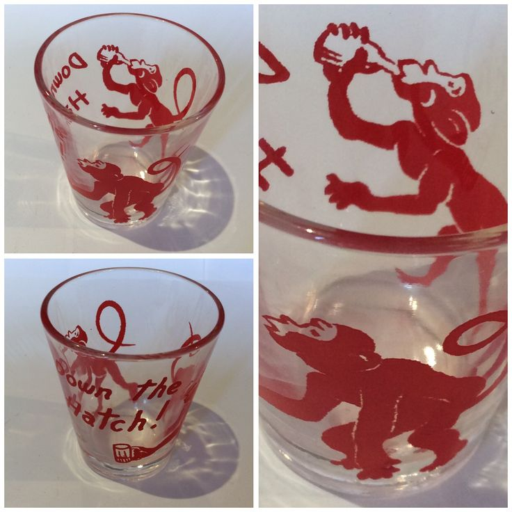 """Medicine Glass, Ceramic Glass transfer with monkeys and """"Down the Hatch!"""" Bought in Byron Bay garage sale. 50c"""