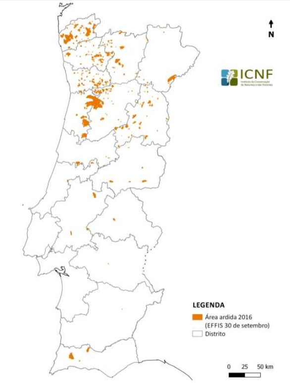 Total of area burnt in Continental Portugal from January 1st to September 30th 2016