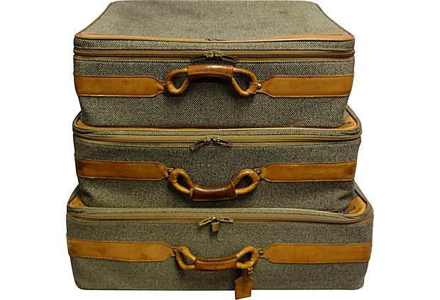 "Hartmann Leather & Wool Vintage Suitcases, S/3 - As described by Lone Ranger Antiques.   Sizes: small, 25''L x 19''W x 8''H, medium, 28''L x 22""W x 9''H; large 29"" L x 24"" W x 10.5"" H. Condition: Excellent. Reg. $1299. Now $599. (3/1/13) OKL"