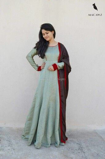 #macawz #designer #instafashion #anarkali #georgette #brocade #banarasi #teal #brown