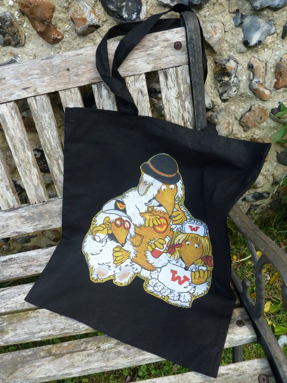 Decorated Black Tote Bag Handbag Knitting Bag by MadeByRachelx