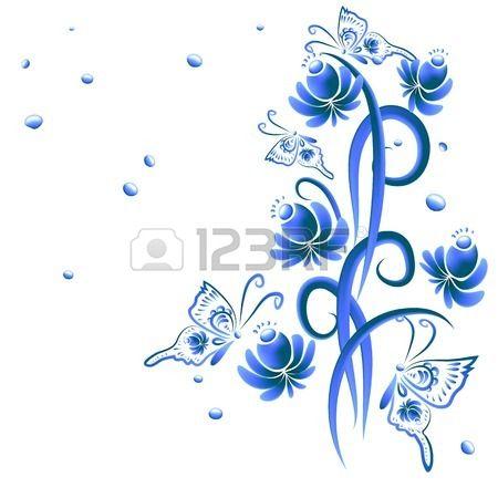 Illustrazione con ornamento floreale nei toni del blu. Artigianato popolare russa, Gzhel stile per souvenir e decorazioni creative.