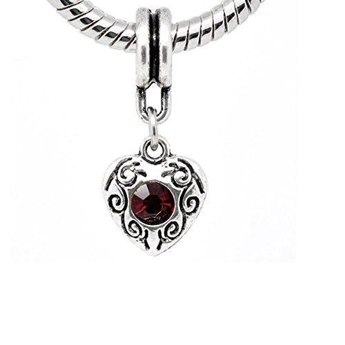 Heart Dangle With Juanury Garnet Birthstone Charms For Snake Chain Bracelet
