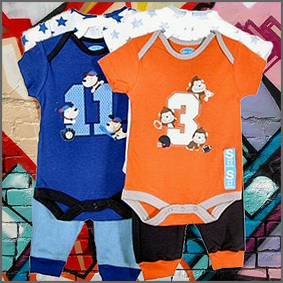 Orange Or Blue 3 Piece Set By Bon Bebe. Cute as pie! These two 3 piece sets by Bon Bebe are super sweet! The orange set features 2 body suits, one with a gorgeous monkey print and the other with a sweet star pattern and matching pants. The blue set also features 2 body suits, one with an adorable puppy print and the other with a lovely star pattern and matching pants! Both as cute as each other!