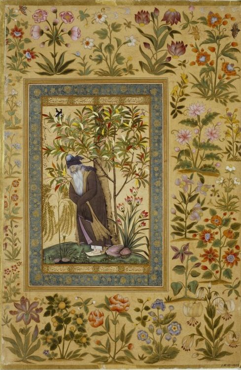 The Aged Mullah, Farrukh Beg, c.1615. Opaque watercolour and gold on paper (India, Jahangir Period).