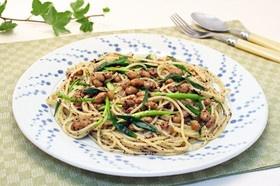 納豆とねぎの赤しそスパゲッティー