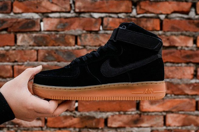 finest selection 4733d 7607a NIKE Air Force 1 High 07 Suede Black Gum Medium Brown AA1118-001