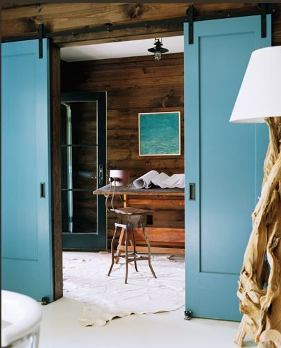 Blue barn doors