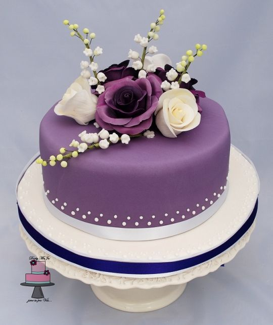 Small violet wedding cake