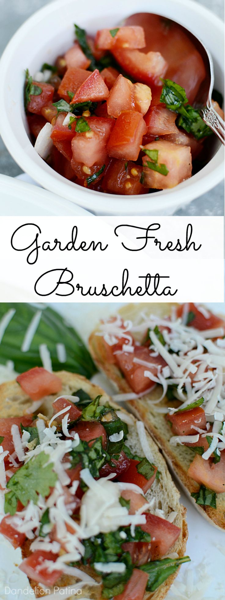Looking for an inexpensive appetizer to serve guests? This garden fresh bruschetta is not only full of flavor, but very pretty too!