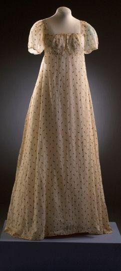 Muslin dress with metallic embroidery. 1803-5 Bath Fashion Museum