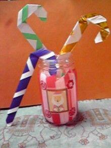 Origami キャンディーケーン ☆空き瓶にサンタの切り抜きでクリスマスっぽく♪