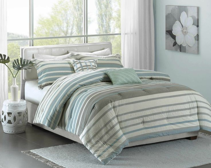 Aqua Neruda Seersucker Striped Bedding - Queen Size