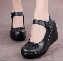 Women's Soft genuine cow leather red blue brown black platform wedges female small size single shoes(China (Mainland))
