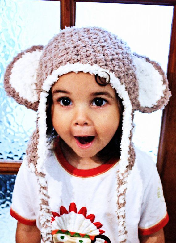 CIJ SALE 6 to 12m Monkey Hat Baby Crochet Monkey Earflap Hat Brown Cream Baby Hat - Monkey Beanie Monkey Ears Earflap Baby Photo Prop #baby #children #kids #babyboy #babygirl #brown #monkeyhat #monkey #babyhat #hat #babamoon #etsy #photoprop
