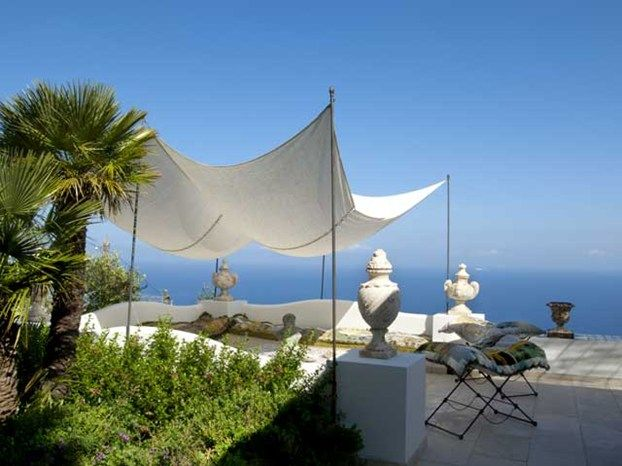 This is a terrace of a villa in Anacapri, the higher part of Capri island, in Italy.