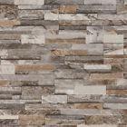 Brick Effect Wallpaper 3D Slate Stone Wall Textured Vinyl Brown Grey Beige